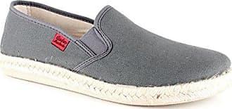 Andres Machado - Unisex Slip-On Schuhe aus braunem Leinen. Gummisohle mit Jute-Rand. Gr. 47