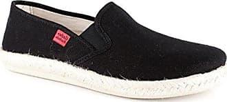 Andres Machado - Unisex Slip-On Schuhe aus grauem Leinen. Gummisohle mit Jute-Rand. Gr. 42