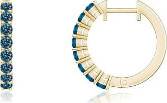 Angara Round Enhanced Blue Diamond and Diamond Semi Hoop Earrings(1.8mm)