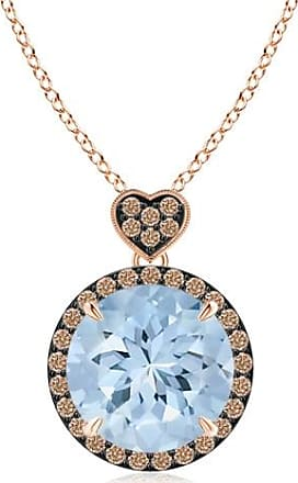 Angara Aquamarine Halo Pendant with Coffee Diamond Heart Motif