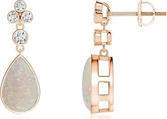 Angara Princess Enhanced Blue Diamond Basket Stud Earrings(4.2mm) Rose Gold