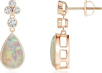 Angara Bezel Drop Cabochon Opal Diamond Solitaire Earrings in Yellow Gold
