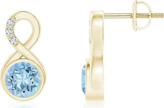 Angara V-Prong Princess Blue Diamond Basket Stud Earrings(4.4mm)