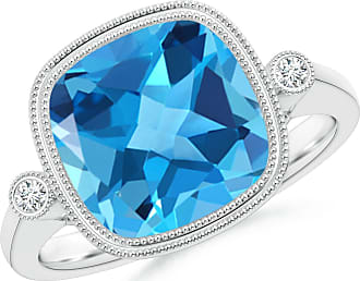 Angara Bezel-Set Cushion Swiss Blue Topaz Ring with Milgrain Detailing