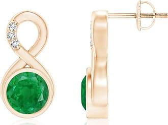 Angara Bezel-Set Emerald Infinity Stud Earrings with Diamonds