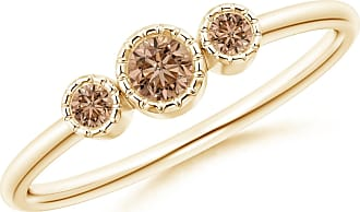 Angara Bezel Set Round Brown Diamond Three Stone Ring