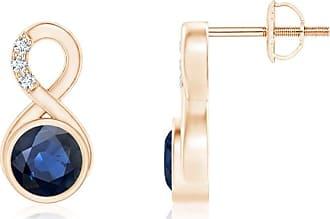 Angara V-Prong Princess Blue Diamond Basket Stud Earrings(4.4mm)