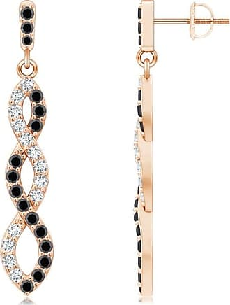 Angara Black Diamond and Diamond Infinity Twist Earrings(1.6mm)