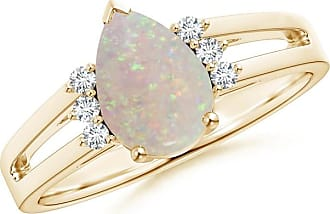 Angara Classic Cabochon Opal Solitaire Ring With Petal Motifs in Rose Gold