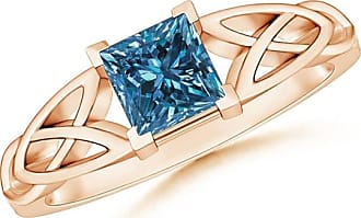 Angara Celtic Knot Shank Solitaire Princess Blue Diamond Ring(4.9mm)
