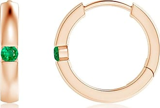 Angara Channel-Set Round Emerald Hinged Hoop Earrings in 14K White Gold