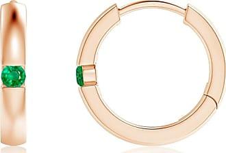 Angara Channel-Set Round Emerald Hinged Hoop Earrings in Platinum
