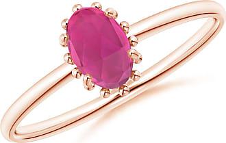 Angara Classic Oval Pink Tourmaline Ring with Beaded Halo