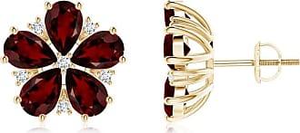 Angara Pear Garnet and Diamond Flowerhead Cluster Earrings Yellow Gold