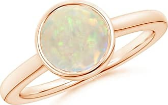 Angara Secured Claw Cabochon Opal and Diamond Halo Ring in Rose Gold