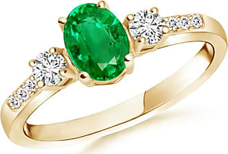 Angara Classic Three Stone Emerald and Diamond Engagement Ring