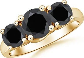 Angara Celtic Knot Shank Solitaire Black Diamond Ring(5.8mm)