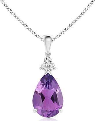 Angara Claw-Set Amethyst Drop Pendant with Trio Diamonds