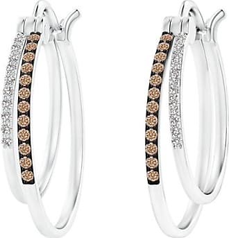 Angara Triple-Row Diamond Studded Huggie Hoop Earrings in Yellow Gold