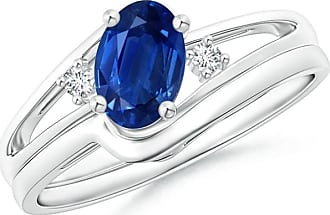 Angara Curvy Matching Band Sapphire Diamond Split Shank Ring in Platinum