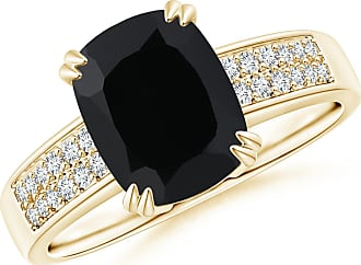 Angara Black Onyx Cocktail Ring in Yellow Gold