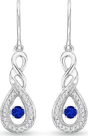 Angara Dancing Blue Sapphire Infinity Drop Earrings with Diamond