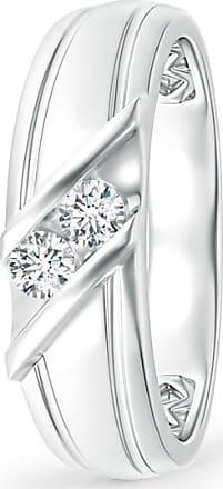 Angara Diagonal Two Stone Diamond Wedding Band with Ridged-Edge