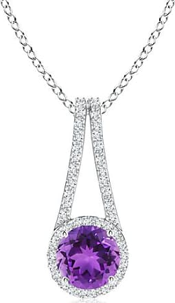 Angara Amethyst and Diamond Halo Inverted V-Bale Pendant
