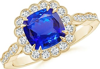 Angara Diamond Halo Double Claw Cushion Tanzanite Vintage Ring in Yellow Gold