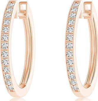 Angara Triple-Row Diamond Studded Huggie Hoop Earrings in Rose Gold