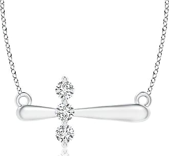 Angara Diamond Encrusted Sideways Cross Necklace