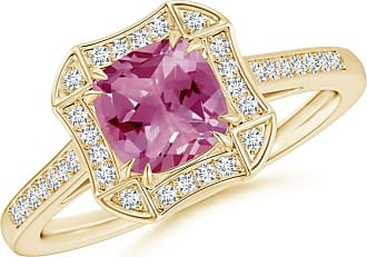 Angara Double Claw Cushion Pink Tourmaline and Diamond Art Deco Framed Ring