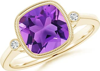 Angara Double Milgrain Outline Cushion Amethyst Solitaire Ring
