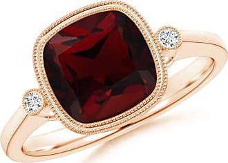 Angara Double Milgrain Outline Cushion Garnet Solitaire Ring in Rose Gold