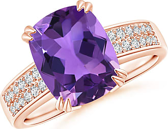 Angara Double Prong-Set Cushion Amethyst Cocktail Ring in Platinum