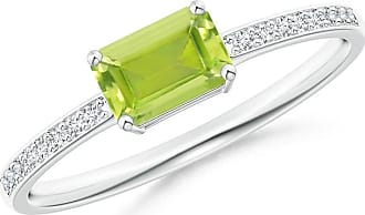 Angara East West Emerald-Cut Peridot Solitaire Ring in White Gold