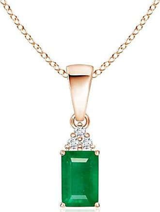 Angara Emerald-Cut Emerald and Diamond Dangling Pendant in Rose Gold