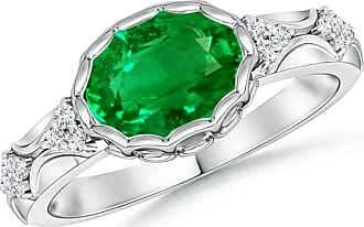 Angara Petal Carved Shank Emerald and Diamond Vintage Ring