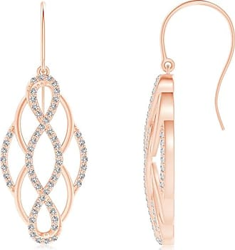 Angara Round Diamond Interwoven Infinity Drop Earrings