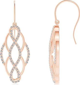Angara Cushion Citrine Infinity Drop Earrings with Diamonds
