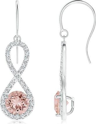 Angara Floating Morganite Infinity Drop Earrings with Diamonds