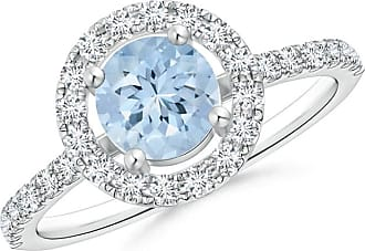 Angara Floating Aquamarine and Diamond Halo Antique Style Ring in Yellow Gold