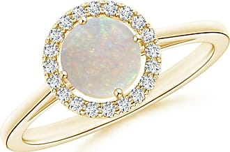 Angara Floating Diamond Halo Cabochon Opal Cathedral Ring in Rose Gold