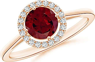 Angara Floating Diamond Halo Garnet Cathedral Ring in Rose Gold