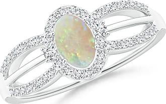 Angara Floating Diamond Halo Peridot Split Shank Ring