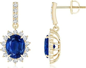 Angara Princess Blue and Diamond Halo Love Knot Earrings(4.2mm)