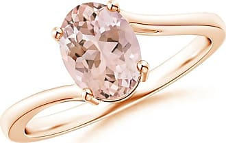 Angara Four Prong-Set Solitaire Oval Morganite Bypass Ring