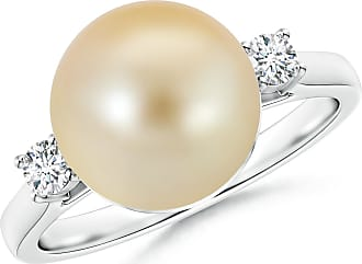Angara South Sea Cultured Pearl Ring with Diamond Loop Link