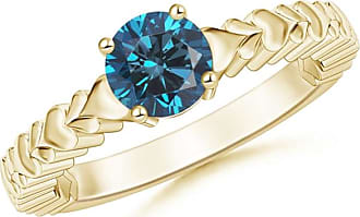 Angara Heart Carved Shank Blue Diamond Solitaire Ring(5.8mm)