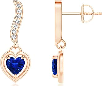 Angara Princess Enhanced Blue and Diamond Halo Love Knot Earrings(4.2mm)